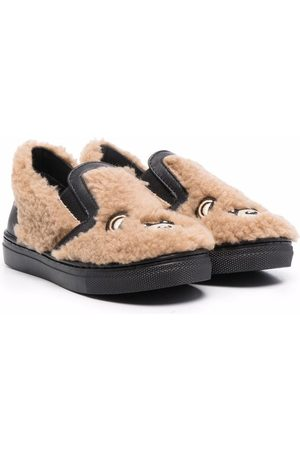 Moschino Signature teddy shearling slippers - Nude