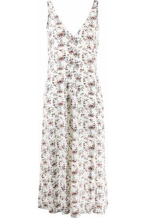 Ganni Floral crêpe sleeveless midi dress - Nude