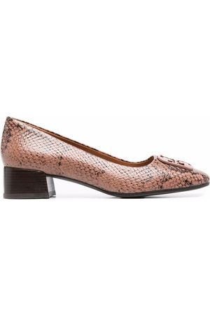 Tory Burch Snakeskin-effect slip-on leather loafers - Nude
