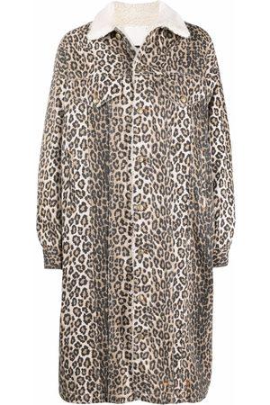 R13 Lyle leopard-print trucker coat - Nude