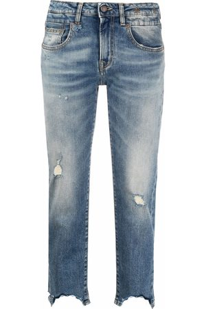 R13 Damen Cropped - Distressed-finish cropped jeans