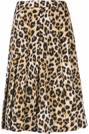 Moschino Leopard-print pleated skirt - Nude