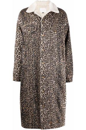 R13 Damen Mäntel - Leopard-print shearling-trim coat