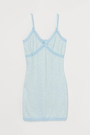 H&M Geripptes Kleid mit Spitze