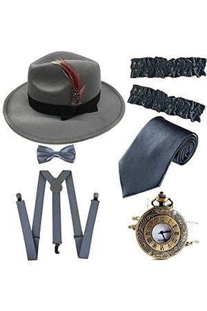 ZeroShop Herren Roaring 1920er Set Manhattan Fedora Hut, Y-Rücken Hosenträger & vorgebundene Fliege