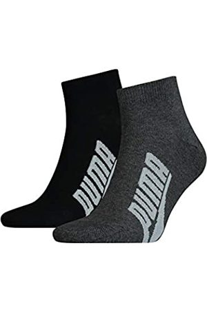 PUMA Unisex-Adult BWT Lifestyle Quarter (2 Pack) Socks, Black/White