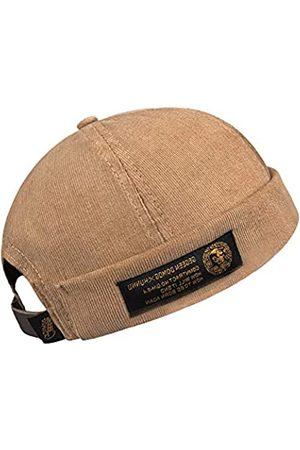 jerague Herren Damen Vintage Style Krempenlose Docker Cap Einfarbig verstellbare Lederschnalle Totenkopfmütze Beanie