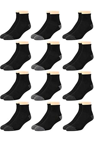 Van Heusen Herren Athletic Quarter Cut Basic Socken (12er Pack), Solid Black