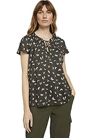TOM TAILOR Damen 1025799 Feminine Bluse, 27429-Khaki Small Floral Design