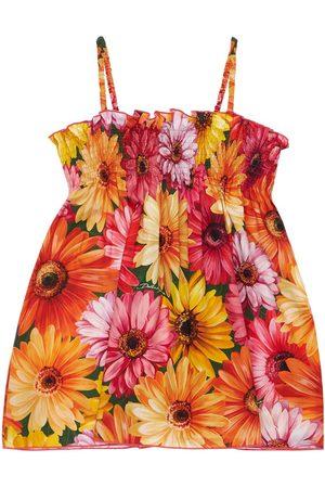 Dolce & Gabbana Kleid Aus Baumwolle Mit Gerbera-druck