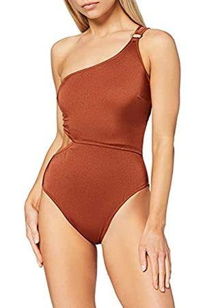 IRIS & LILLY Amazon-Marke: Damen One Shoulder asymmetrischer Badeanzug, Rot (Sumatra), XL