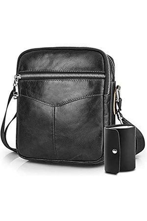 BAGZY Herren-Schultertasche aus echtem Leder, Vintage-Stil, kleine Umhängetasche für Business, Universität