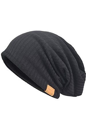 VECRY Herren Übergröße Slouch Beanie Slouchy Skullcap Large Baggy Hat - Schwarz - MEDIUM