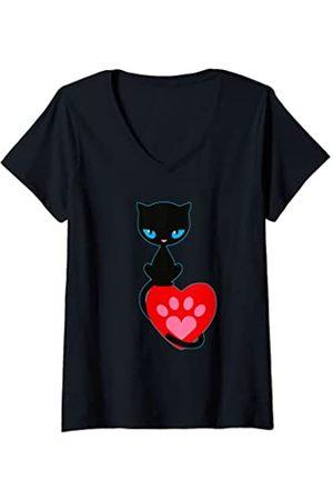 Pussy Deluxe Damen Cat kitten neko pussy kat katze chaton paw T-Shirt mit V-Ausschnitt