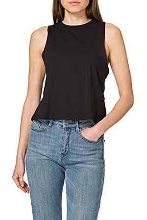 Noisy May Damen NMHAILEY S/L Crop Tank TOP BG NOOS T-Shirt, Black