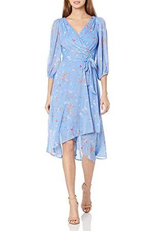 DKNY Damen Chiffon 3/4 Balloon Sleeve V-Neck Tie Waist Faux Wrap Midi Dress Kleid