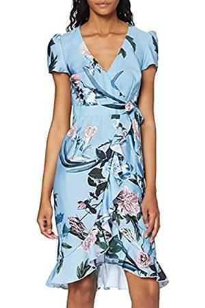 Little Mistress Damen Rori Blue Floral Midi Wrap Dress cocktailkleid