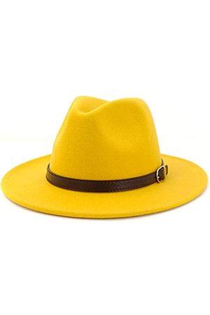 Fange Herren & Damen Panamahut Klassische breite Krempe Fedora Hut mit Gürtelschnalle - - Einheitsgröße