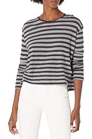 Majestic Filatures Women's Cotton/Cashmere Stripe Long Sleeve Crew