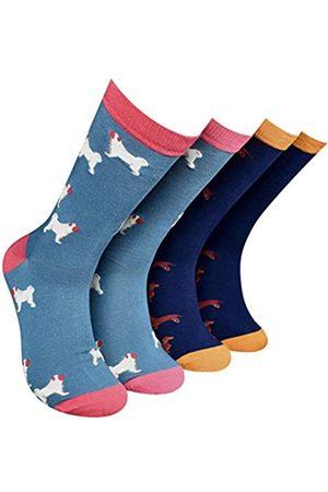 Thought Socken Herren Mops und Weiner Hundesocken, Größe 44-46, Marineblau, 4 Stück