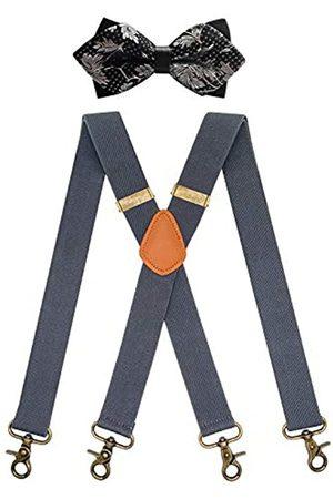 QCWQMYL Herren Hosenträger und Fliege Set Vintage 4 Drehhaken Verstellbare Hosenträger - - Einheitsgröße