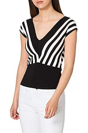 Morgan Damen Pull col v rayures diagonales Must Pullover, /Off-White