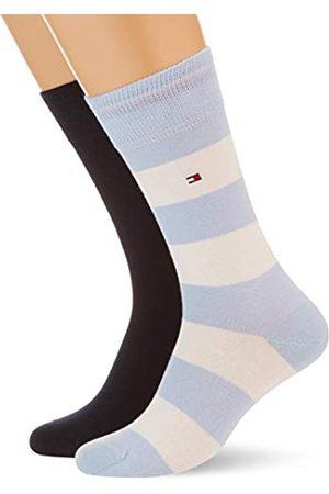 Tommy Hilfiger Mens Rugby Stripe Men's (2 Pack) Socks, White/Blue