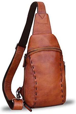 LRTO Echtes Leder Sling Bags Wanderrucksäcke Gürteltasche Vintage Handgemachte Crossbody Brust Daypack Schultertasche - - Medium