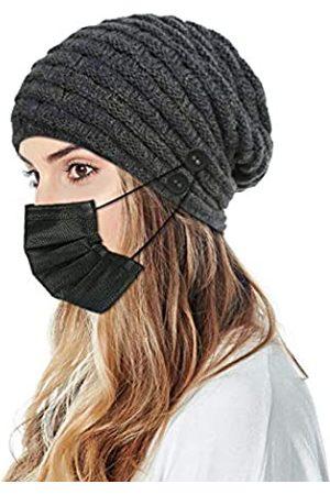 SUMDGE Life Damen Wintermütze mit 4 zusätzlichen Knöpfen zum Halten der Gesichtsmaske