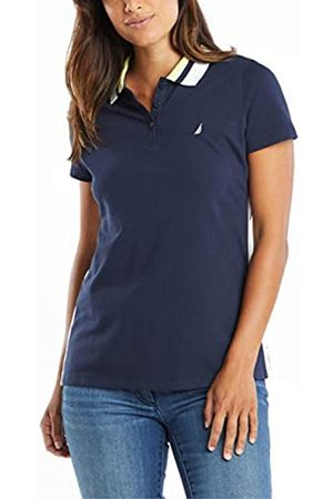 Nautica Damen Classic Fit Striped Collar Stretch Cotton Polo Shirt Poloshirt