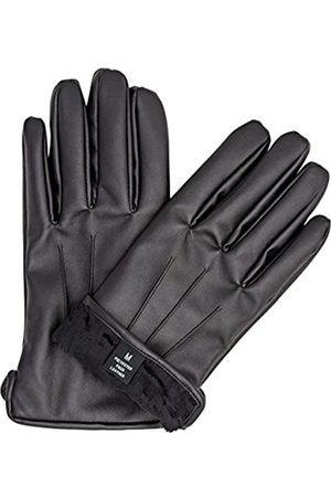 zarachi Mens faux leather black fur lined gloves with tec touchscreen technology (X-large)