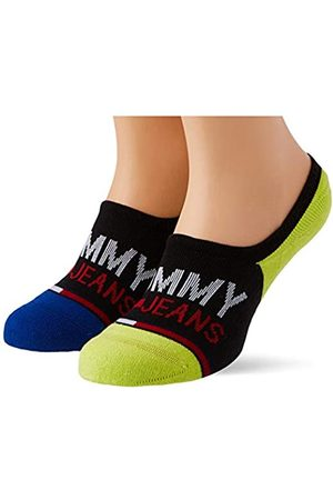 Tommy Hilfiger Unisex-Adult Tommy Jeans No Show High Cut (2 Pack) Socks, Black/Yellow