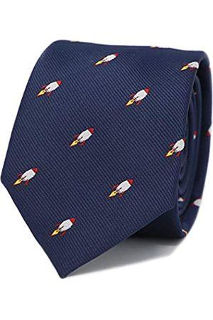 MENDEPOT Krawatte mit Raketenmuster, Marineblau