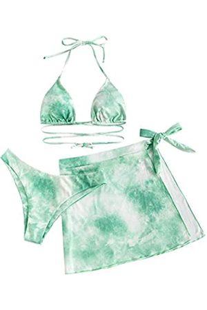 Zaful Damen Bikini-Set, gerippt, Blumenmuster, Seitlicher Badeanzug mit Gänseblümchen-Motiv, dreiteiliger Tanga-Bikini