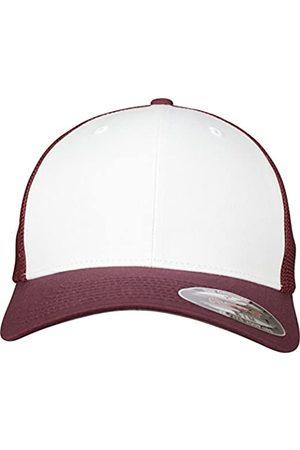 Flexfit Mesh Colored Front Unisex Kappe für Damen und Herren, Mehrfarbig (maroon/White)