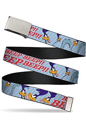 """Buckle-Down Unisex-Erwachsene Web Belt 1.25"""" Gürtel, Meep Meep W/Road Runner Poses Babyblau"""