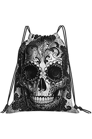 Hitamus Sugar Skull Rucksack mit Kordelzug, für Damen und Herren, wasserdicht, Nylon, für Fitnessstudio, Sport, Reisen