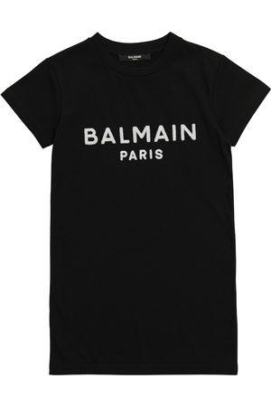 Balmain Kids Kleid aus Baumwolle mit Logo
