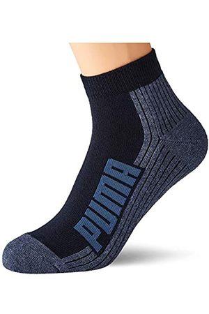PUMA Unisex-Adult BWT Cushioned Quarter (2 Pack) Socks, Navy/Grey/Strong Blue