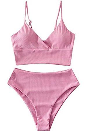 Zaful Women's High Waisted Bikini Swimsuit Underwire Bandeau Tankini Bathing Suit