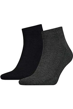 Levi's Herren Socken & Strümpfe - Herren Levis Cushioned Mid Cut 2P Socken, Mehrfarbig (anthracite melange/black 267)