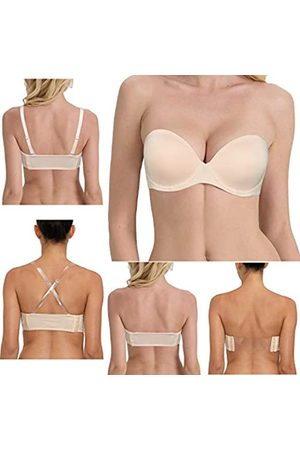 DHX Damen Trägerloser BH mit transparentem Riemen und unsichtbarem Rücken, breites Band, Demi Push Up, gepolsterter Bügel, Multiway Convertible