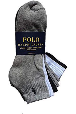 Polo Ralph Lauren Men's Ribbed Quarter Socks 6-Pairs (Grey-Wht-Blk)