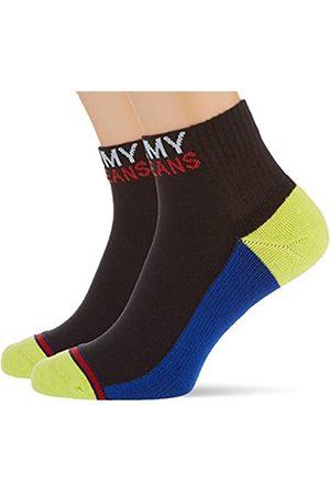 Tommy Hilfiger Unisex-Adult Quarter (2 Pack) Socks, Black/Yellow