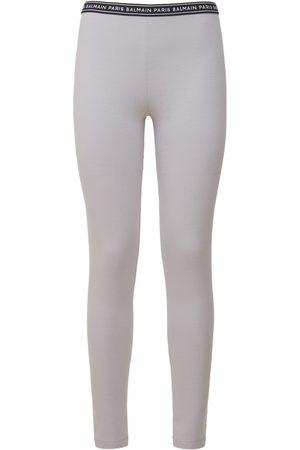 BALMAIN Damen Leggings & Treggings - Leggings Aus Stretch-baumwolle Mit Logo