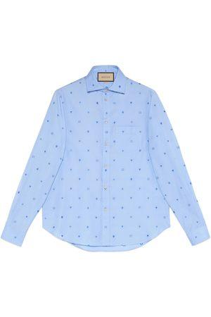 Gucci Baumwollhemd aus FilCoupé mit Symbole-Motiv