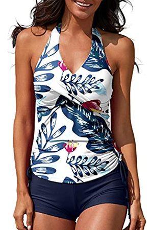 MISSVOG Damen Zweiteiliger Tankini Neckholder Gepolsterter Verstellbarer Kordelzug Badeanzug mit Boyshorts - - XX-Large