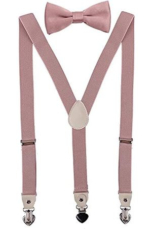 PZLE Herren Fliegen - Herren Jungen Hosenträger und Fliege Set für Hochzeit verstellbar - Pink - 119 cm (Erwachsene)