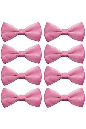 AVANTMEN Herren Fliegen für Jungen 8er Pack Satin vorgebundene Fliege formelle Smoking verstellbare Länge große Vielzahl von Farben - Pink - Mitte