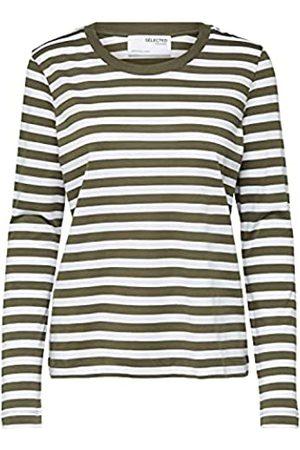 SELECTED Damen SLFSTANDARD LS Tee STR NOOS T-Shirt, Kalamata/Stripes:Snow White